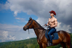 Macho man handsome cowboy and horse on the background of sky and water. Western style stock image