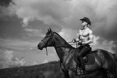 Macho man handsome cowboy and horse on the background of sky and water. Western style stock photos