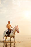 Macho man and horse on the background of sky and water. Boy mode Stock Photography
