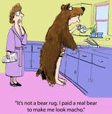 Macho man. It's not a bear rug. I paid a real bear to make me look macho Stock Photos