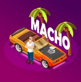 Macho Man Luxury Car isometric Image. Macho man standing crossed arms near luxury open top car in tropical resort isometric image vector illustration stock illustration