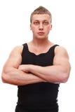 Macho muscular com mãos clasped imagens de stock royalty free