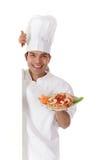 Macho nepalês alegre novo do cozinheiro chefe, placa Foto de Stock Royalty Free