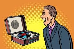Macho novo atrativo de Smilling Jogador de registro retro do vinil ilustração do vetor
