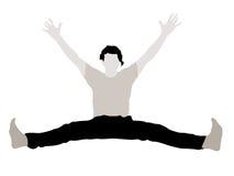 Macho novo com os braços que esticam acima seus pés ilustração do vetor