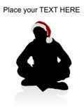 Macho novo que desgasta o chapéu vermelho do Natal ilustração do vetor