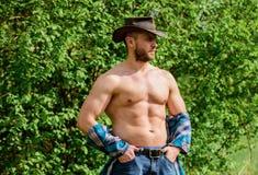 Macho sechs S?tze Torso tragen rustikale Artkleidung und Cowboyhut Starker und ?berzeugter Cowboy Inhaber der Ranch Mann stockfoto