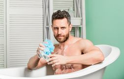 Macho with sponge take bath at home. Taking bath with soap suds. Pampering and beauty routine. Handsome muscular man stock image