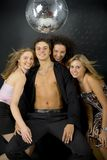 Macho with three womans royalty free stock images