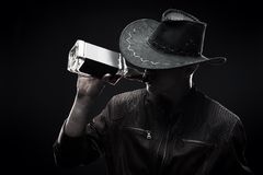 Macho with whisky Royalty Free Stock Photos