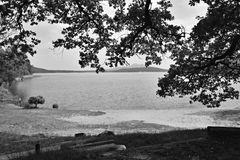 Machovo jezero lake with Bezdez castle on background and sand beach with tree in foreground in Machuv kraj tourist area in czech. Republic with black and white stock photos
