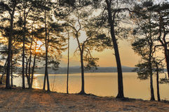 Machovo jezero in sunset Stock Photos