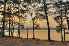 Machovo jezero in sunset. View from bank of Machovo jezero on the lake in sunset Stock Photos