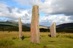 Machrie hed, stående stenar arkivbild