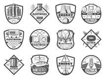 Macht en energie de industrie, zwart-wit pictogrammen royalty-vrije illustratie