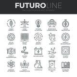 Macht en Energie Geplaatste de Lijnpictogrammen van Futuro Royalty-vrije Stock Afbeeldingen