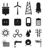 Macht en Energie Geplaatste Pictogrammen Stock Afbeelding