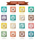 Macht en Energie retro pictogrammen Stock Fotografie