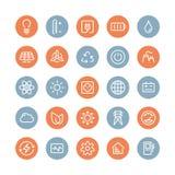 Macht en energie vlakke geplaatste pictogrammen Stock Foto's