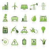 Macht, energie en elektriciteits Bronpictogrammen Stock Foto