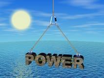 Macht op het koord onder het overzees Stock Foto's