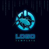 Macht op Knoopinsect Logo Template Vector illustratie Stock Afbeeldingen