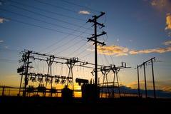 Macht Polen bij Zonsondergang Stock Afbeeldingen