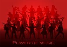 Macht van muziekconcept Reeks silhouetten van musici, zangers en dansers Stock Afbeeldingen
