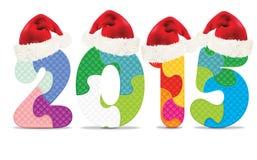 2015 machten vom Alphabetpuzzlespiel mit Weihnachtshüten Stockbilder