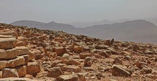 Machtesh Ramon - cratere di erosione nel deserto di Negev, il punto di riferimento naturale pi? pittoresco di Israele fotografie stock libere da diritti