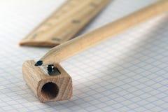Machthaber, Bleistift und Bleistiftspitzer Lizenzfreie Stockfotos