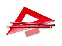 Machthaber, Bleistifte und Radiergummi lokalisiert auf Weiß Lizenzfreie Stockbilder