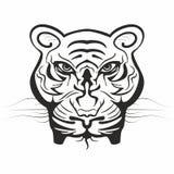 Machtig tijgergezicht in zwart-wit Royalty-vrije Stock Afbeelding