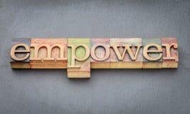 Machtig woord in houten type stock afbeelding