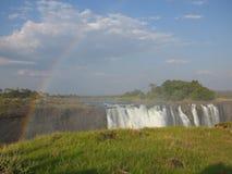Machtige Victoria Falls tussen Zambia en Zimbabwe Stock Foto's