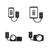 Machtsbank: tablet, camera, geplaatste telefoonpictogrammen vector illustratie
