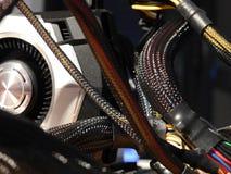 Machtskabels - Grafiekbewerker op motherboard Stock Afbeeldingen