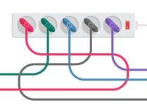 Machtsstrook en kabels Royalty-vrije Stock Fotografie