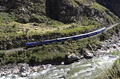 machu培训urubamba的picchu河 免版税库存照片