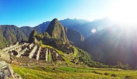 Machu enkel Picchu bij Zonsopgang Stock Afbeelding