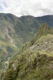 machu picchu陡峭的视图 免版税库存照片