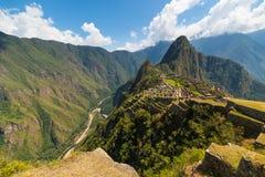 Machu Picchu περιοχή που φωτίζεται archeological από το φως του ήλιου Στοκ Φωτογραφία