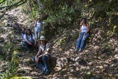 MACHU PICCHU, ПЕРУ, 12-ОЕ АВГУСТА: Тысячи посещения туристов ежедневные Стоковые Изображения RF