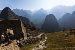 MACHU PICCHU, ПЕРУ, 12-ОЕ АВГУСТА: Machu Picchu, было конструированным Peruvi Стоковое Изображение RF