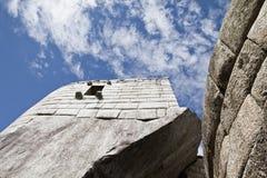 Machu Picchu пусто пасмурно туманнейше После пешего туризма на внушительном стоковые фото