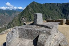 Machu Picchu - церемониальный утес стоковые изображения rf