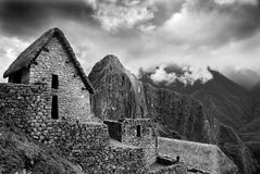 Machu Picchu. At the Peruvian Andes. Dramatic monotone image. With copy space Royalty Free Stock Photography