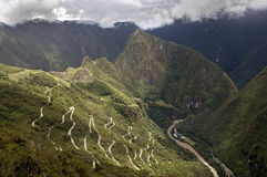 Machu Picchu. Aerial view of Machu Picchu high up in the Peruvian Andes Royalty Free Stock Photo