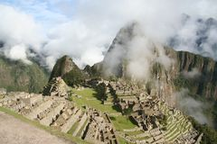 Machu Picchu. View of Machu Picchu from upper terrace. Mountains form shape of the Condor behind the city Stock Photo