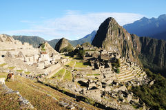 Machu Picchu. World Heritage, UNESCO is located in Peru and is one of the Seven Wonders of the World, an archaeological site in the Andes, near the city of Royalty Free Stock Photo